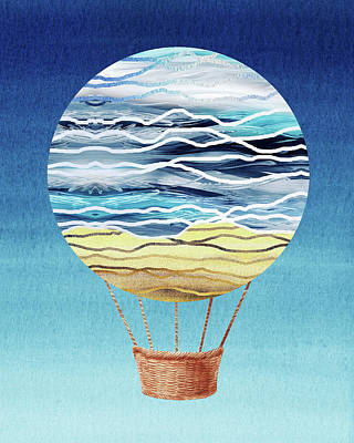 Royalty-Free and Rights-Managed Images - Happy Hot Air Balloon Watercolor XXI by Irina Sztukowski