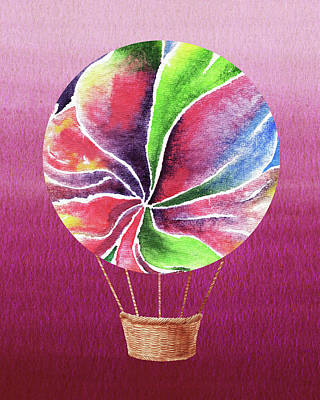 Royalty-Free and Rights-Managed Images - Happy Hot Air Balloon Watercolor XXII by Irina Sztukowski