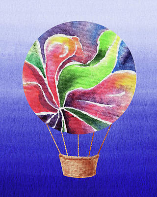Royalty-Free and Rights-Managed Images - Happy Hot Air Balloon Watercolor XXV by Irina Sztukowski