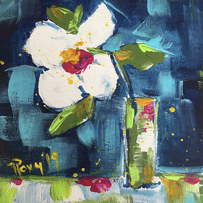 Abstract Painting - Happy Little Gardenia by Roxy Rich