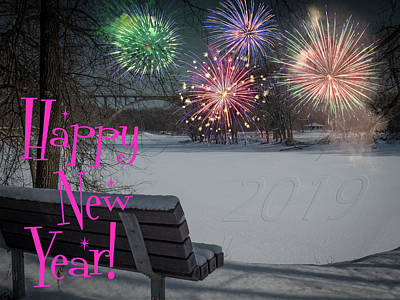 Photograph - Happy New Year 2019 - River Bench by Patti Deters