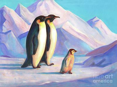 Sports Paintings - Happy Penguin Family by Svitozar Nenyuk