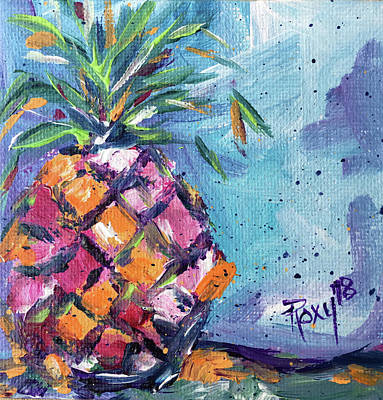 Pink Painting - Happy Pineapple by Roxy Rich