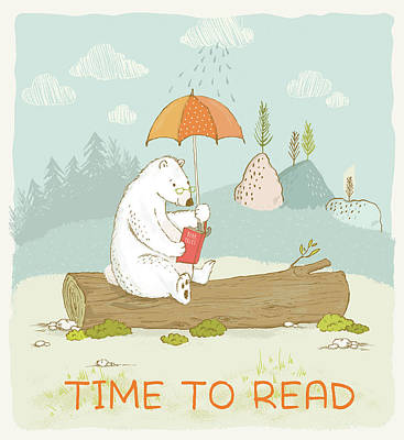 Photograph - Happy Reading Bear With Quote Time To Read by Matthias Hauser