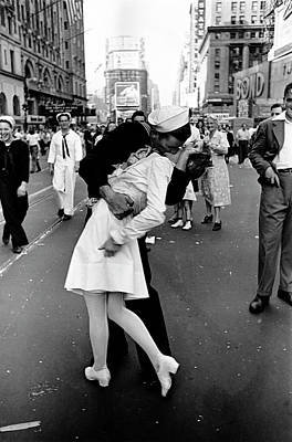 Photograph - Happy Sailor Kissing Nurse In Times by Alfred Eisenstaedt