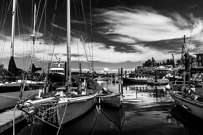 Outerspace Patenets - Harbor on Guemes Channel Black and White by TL Mair