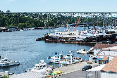 Photograph - Harbor Patrol And Tugs by Tom Cochran