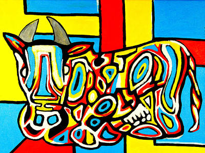 Painting - Haring's Cow by Jose Rojas