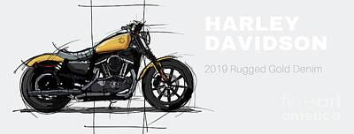 Drawings Royalty Free Images - Harley Davidson 2019 Rugged Gold Denim Custom Original Artwork Pub decoration Royalty-Free Image by Drawspots Illustrations