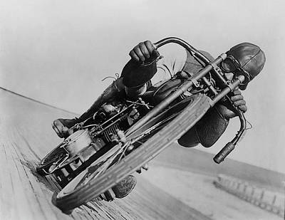 Photograph - Harley Davidson - Leaning Hard by Bill Cannon