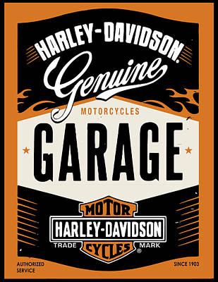 Digital Art - Harley Davidson Sign by Greg Joens