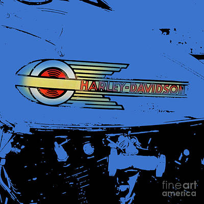 Royalty-Free and Rights-Managed Images - Harley Davidson tank logo blue artwork by Drawspots Illustrations