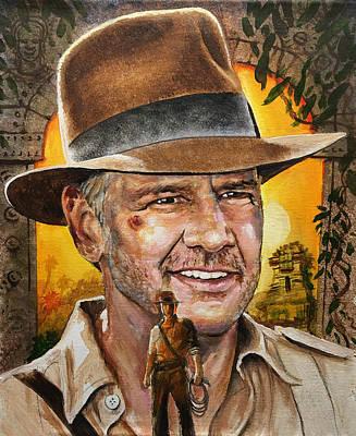 Painting - Harrison Ford - Indiana Jones by Robert Korhonen
