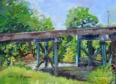 Painting - Harrison Park Bridge-ellijay River - Sun Peeking Under by Jan Dappen