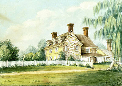 Drawing - Harriton, Home Of Charles Thomson, 1828 by William Breton