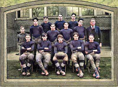 From The Kitchen - Harrys football team, High School, Rootstown, Ohio 1930 colorized by Ahmet Asar by Ahmet Asar