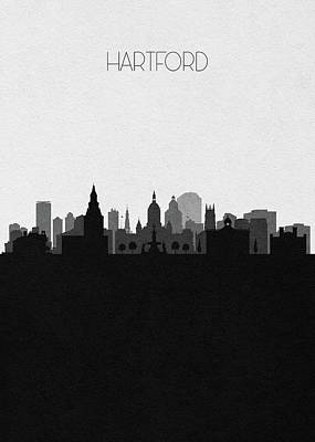 Digital Art - Hartford Cityscape Art by Inspirowl Design