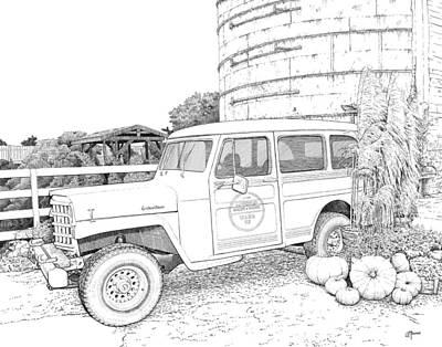 Digital Art - Harvest At Magnolia - Ink by Rick Adleman