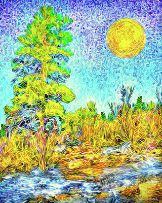 Digital Art - Harvest Moon On Crystal Mountain - Boulder County Colorado by Joel Bruce Wallach