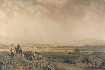 Drawing - Harvesters In Landscape In Sussex by Peter De Wint