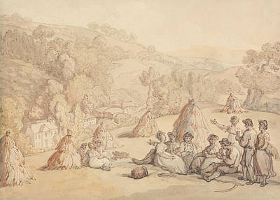 Drawing - Harvesters Resting In A Corn Field by Thomas Rowlandson