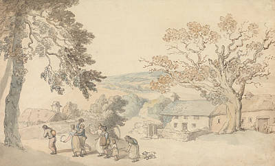 Drawing - Harvesters Setting Out by Thomas Rowlandson