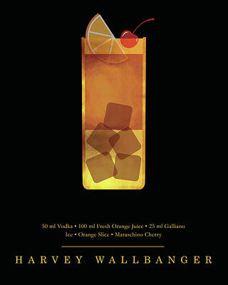 Digital Art - Harvey Wallbanger - Cocktail - Classic Cocktails Series - Black And Gold - Modern, Minimal Decor by Studio Grafiikka