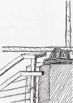 Still Life Drawings - Hat on Ledge by Railing by Robert Yaeger