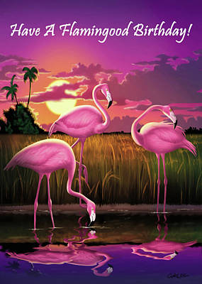 Painting - Have A Flamingood Birthday Greeting Card - Pink Flamingos Sunset by Walt Curlee
