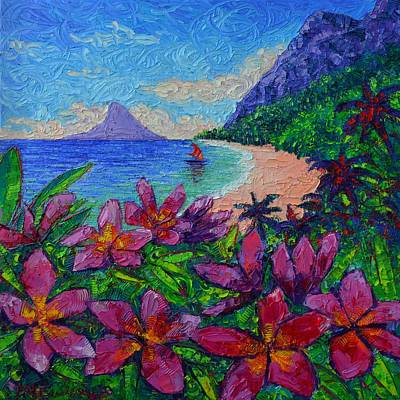 Hawaii Plumeria Secret Beach Modern Impressionist Textural Impasto Knife Painting Ana Maria Edulescu Original