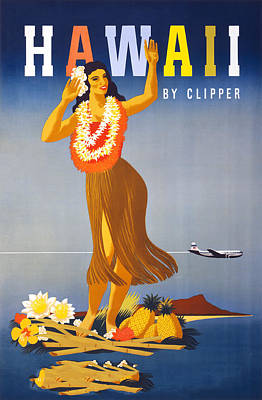 Flying Digital Art - Hawaii Travel Poster by Graphicaartis
