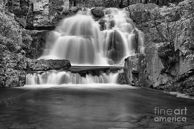 Photograph - Hawk Run Cascades Black And White by Adam Jewell