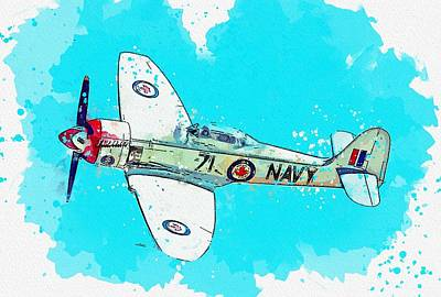 Royalty-Free and Rights-Managed Images - Hawker Sea Fury FB11 VR930 watercolor by Ahmet Asar by Ahmet Asar