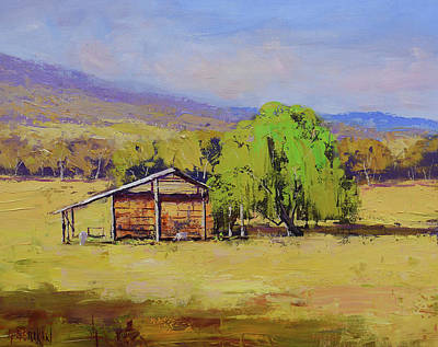 Coy Fish Michael Creese Paintings - Hay shed Tumut by Graham Gercken