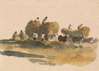 Drawing - Hay Wagons by Peter De Wint