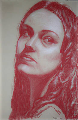 Head Drawing In Red Pastel #7  Original
