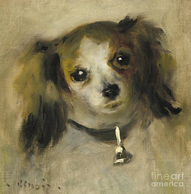 Painting - Head Of A Dog, 1870 by Pierre Auguste Renoir