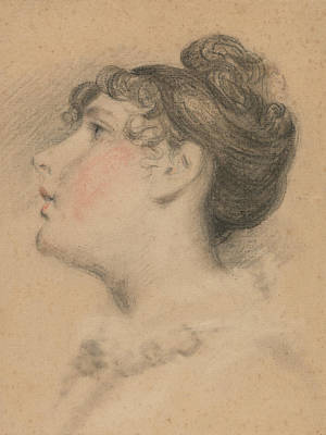 Drawing - Head Of A Girl - Probably A Study Of Mrs. De Wint by Peter De Wint
