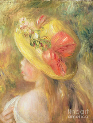 Painting - Head Of A Girl With A Hat, 1893  by Pierre Auguste Renoir