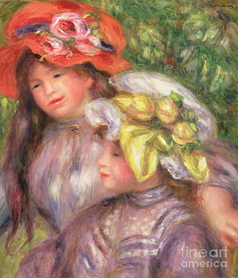 Painting - Heads Of Two Girls With Hats by Pierre Auguste Renoir