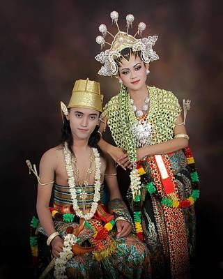 Painting - Headshot Of Indonesian Male And Female In Traditional Clothing by Celestial Images