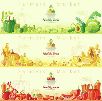Healthy Organic Food Banners Art Print by O-che
