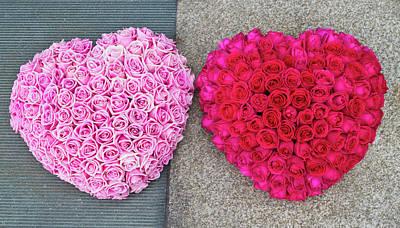 Photograph - Heart Shape Flower Arrangement by Fraser Hall