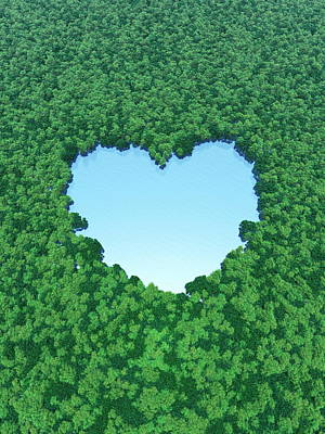 Heart Shaped Lake In Forest Art Print by I-works/amanaimagesrf