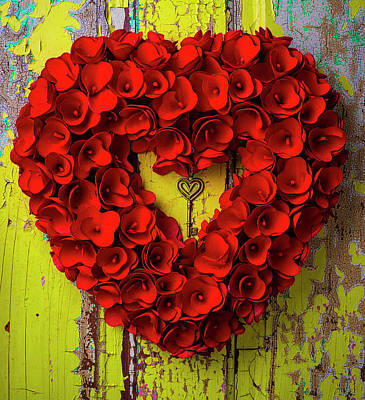 Peeling Painted Wood Wall Art - Photograph - Heart Wreath And Heart Key by Garry Gay