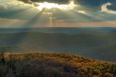 Photograph - Heaven's Light From White Rock Mountain - Ozark National Forest by Gregory Ballos