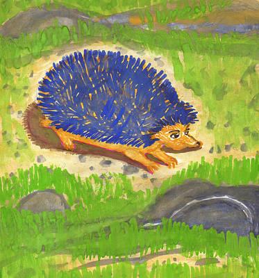 Painting - Hedgehog by Dobrotsvet Art