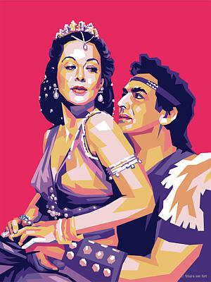 Day Of The Dead Inspired Paintings - Hedy Lamarr and Victor Mature by Stars on Art