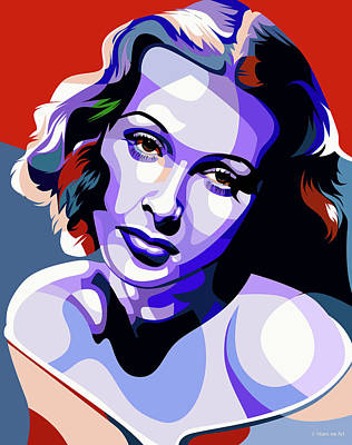 Modern Sophistication Line Drawings - Hedy Lamarr portrait by Stars on Art