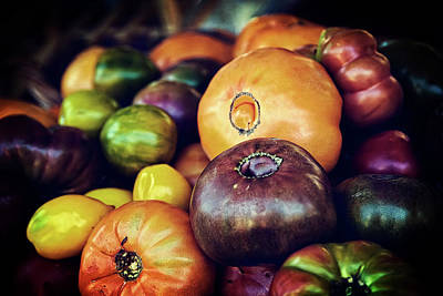 Black And White Flower Photography - Heirloom Tomatoes at the Farmers Market by Scott Norris